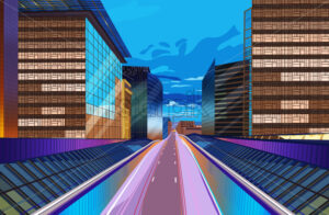 Road at night city scape Vector. Buildings lights background. Modern city highway illustration - starpik