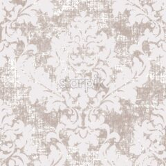 Rococo texture pattern Vector. Floral ornament decoration old effect. Victorian engraved retro design. Vintage fabric decor. Beige and white color - starpik