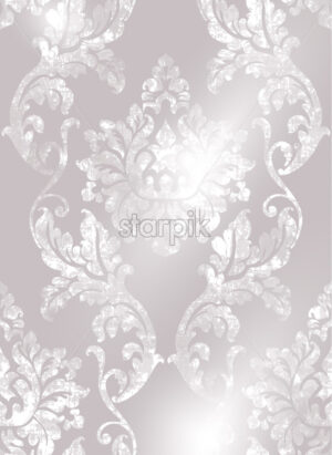 Rococo texture pattern Vector. Floral ornament decoration old effect. Victorian engraved retro design. Vintage fabric decor. Beige color - starpik