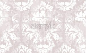 Rococo texture pattern Vector. Floral ornament decoration old effect. Victorian engraved retro design. Vintage fabric decor. Pink color - starpik