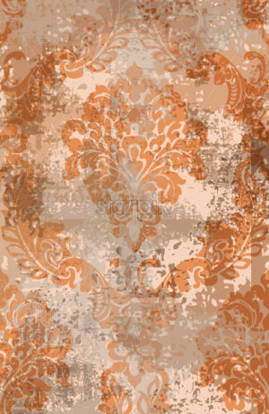 Rococo texture pattern Vector. Floral ornament decoration old effect. Victorian engraved retro design. Vintage fabric decor. Rust colored - starpik