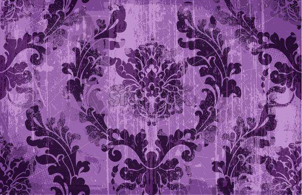 Rococo texture pattern Vector. Floral ornament decoration old effect. Victorian engraved retro design. Vintage fabric decor. Violet color - starpik