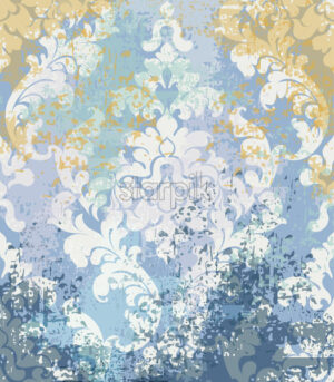 Rococo texture pattern Vector. Floral ornament decoration old effect. Victorian engraved retro design. Vintage fabric decors. Blue old effect color - starpik