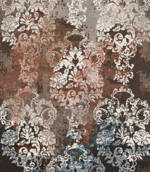 Rococo texture pattern Vector. Floral ornament decoration old effect. Victorian engraved retro design. Vintage fabric decors. Chocolate brown color - starpik