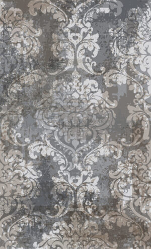 Rococo texture pattern Vector. Floral ornament decoration old effect. Victorian engraved retro design. Vintage fabric decors. Gray brown color - starpik