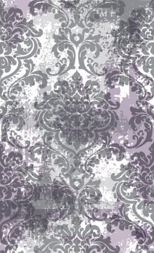 Rococo texture pattern Vector. Floral ornament decoration old effect. Victorian engraved retro design. Vintage fabric decors. Lavender color - starpik
