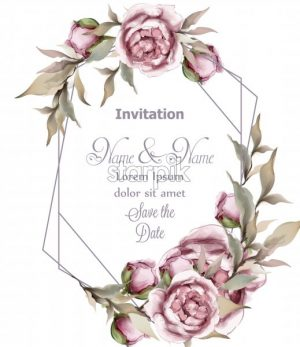Rose delicate abstract frame Vector. Wedding invitation card. Save the date. Spring summer decor - starpik
