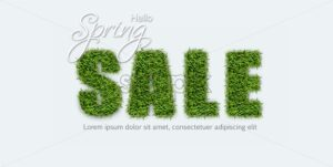 Sale sign in green grass Vector realistic. Spring sales banner on white background - starpik
