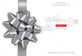 Silver bow card Vector realistic. Special Valentine day wishes. 3d illustration - starpik