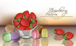 Strawberry and macaroons Vector realistic. 3d detailed card menu template. delicious desserts poster - starpik