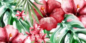 Tropic flowers background Vector watercolor. Delicate summer exotic template - starpik