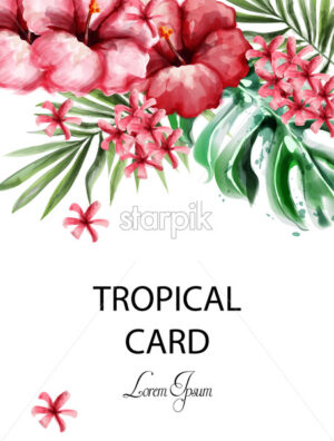 Tropic flowers card Vector watercolor. Delicate summer exotic template - starpik