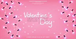 Valentine Day glowing lights Vector realistic banner. Valentine Day card. Shiny Realistic lights garland. 3d detailed illustration. Beautiful holiday poster. pink color - starpik