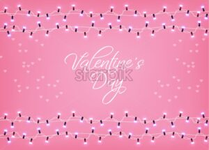 Valentine Day glowing lights Vector. Valentine Love card. Shiny Realistic lights garland. 3d illustration. Beautiful holiday posters. pink color - starpik