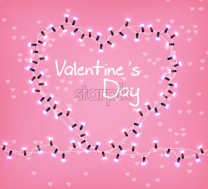 Valentine Day heart glowing lights Vector. Celebrate Love text card. Heart shape realistic lights garland. 3d illustration. Beautiful holiday poster. Pink color - starpik