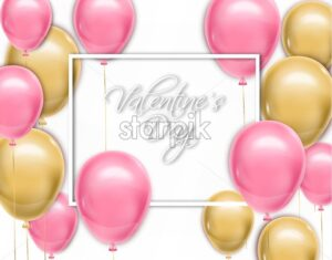 Valentine day card with balloons Vector realistic. Pink and yellow joyful colorful postcard - starpik