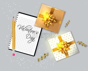 Valentine day card with gift boxes Vector realistic. Notesbook text. Celebrate love card. 3d detailed illustration - starpik