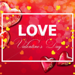 Valentine day card with hearts Vector realistic. Soft bokeh effect romantic card template - starpik