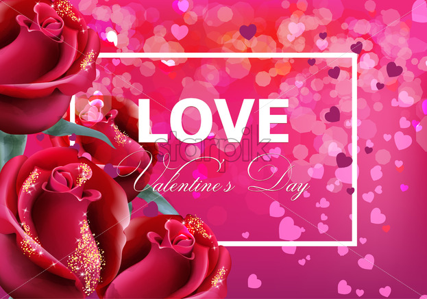 Valentine day card with red roses Vector realistic  Soft bokeh effect  romantic card template