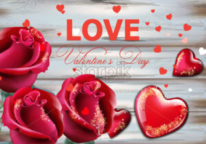 Valentine day card with red roses and hearts Vector realistic. Soft bokeh effect romantic card template - starpik
