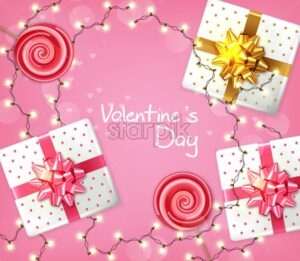 Valentine day gift boxes and lights garland Vector realistic. Celebrate love card. 3d detailed illustration - starpik