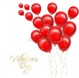 Valentine day golden text with red balloons Vector realistic. Romantic party invitattion card. detailed 3d balloons decor - starpik