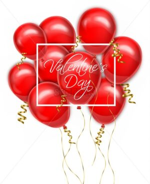 Valentine day red balloons card Vector realistic. Romantic party invitattion. detailed 3d balloon - starpik
