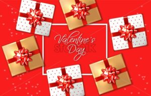 Valentine day red card with gift boxes Vector realistic. Celebrate love card. 3d detailed illustration - starpik