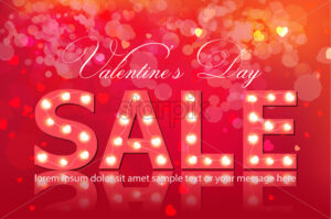 Valentine day sale banner Vector realistic. Red vintage bulb lights template. Text with glowing lights. Soft bokeh effect romantic card lay out - starpik
