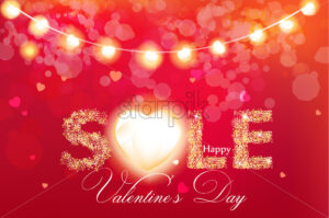 Valentine day sale banner in glitter Vector realistic. Red vintage lights template. Text with glowing lights. Soft bokeh effect romantic card lay out - starpik