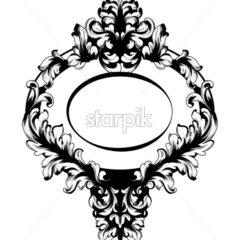 Vintage Baroque Mirror frame Vector. French Luxury rich intricate ornaments. Victorian Royal Style decor - starpik