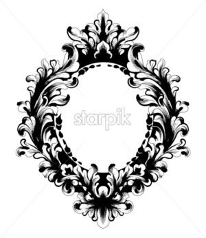 Vintage Baroque Mirror frame.Vector. French Luxury rich intricate ornaments. Victorian Royal Style decor - starpik