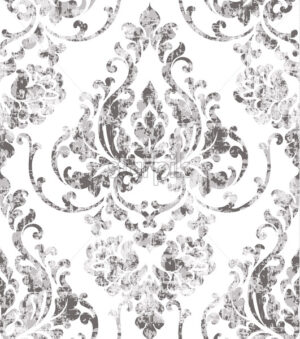 Vintage rococo texture pattern Vector. Floral ornament decoration old effect. Victorian engraved retro design. Luxury fabric decor. Beige color - starpik
