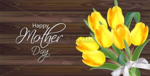 Yellow tulip flowers bouquet Vector realistic banner. Spring season template. Dark wooden background. 3d illustration - starpik