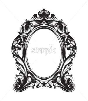 Baroque Mirror frame. Vector French Luxury rich intricate ornaments. Victorian Royal Style decor - starpik