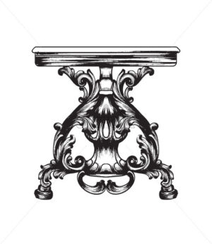 Baroque furniture table. Royal style decotations. Victorian ornaments engraved. Imperial furniture decor. Vector illustrations line art - starpik