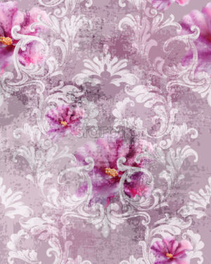 Baroque texture pattern with roses Vector. Floral ornament decoration. Victorian engraved retro design. Vintage fabric decors. Luxury fabric - starpik