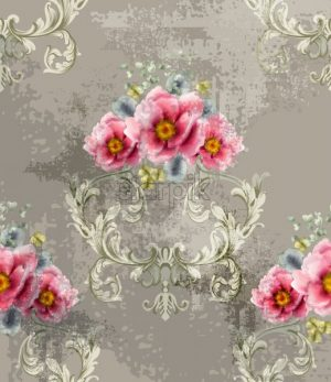 Baroque texture pattern with spring flowers Vector. Floral ornament decoration. Victorian engraved retro design. Vintage fabric decors. Luxury fabric - starpik