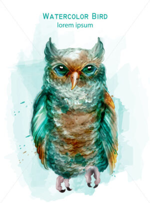 Blue owl colorful Vector watercolor. Exotic bird isolated on white - starpik