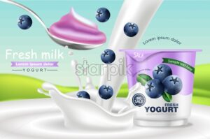 Blueberry yogurt Vector realistic. Product placement mock up. Fresh yogurt splash with fruits. Label design. 3d detailed illustration - starpik