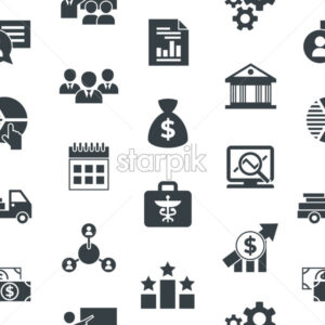 Business corporate stakeholder and company strategy icons infographics, digital vector seamless pattern - starpik