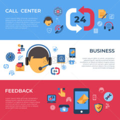 Call center and business feedback support icons infographics, digital vector - starpik