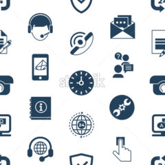 Call center and business feedback support icons infographics, digital vector seamless pattern - starpik