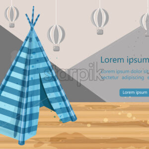 Camp tent hovel Vector. Tent-hut for kids games. Element for graphic design. Blue color hut. Abstract air balloons on background - starpik
