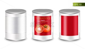 Canned metallic set isolated Vector realistic mock up. Product placement. 3d detailed illustration - starpik