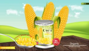Canned sweet corn Vector realistic. Metal tin. Product package mock up. Label design. 3d detailed illustration - starpik