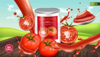 Canned tomatoes Vector realistic mock up. Product placement. 3d detailed illustration - starpik