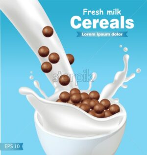 Chocolate cereals in milk splash Vector realistic. blue background 3d detailed effect illustration - starpik