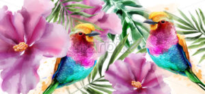Colorful birds and flowers watercolor Vector. Tropic card background - starpik