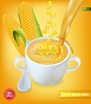 Corn soup Vector realistic product placement. 3d illustration - starpik